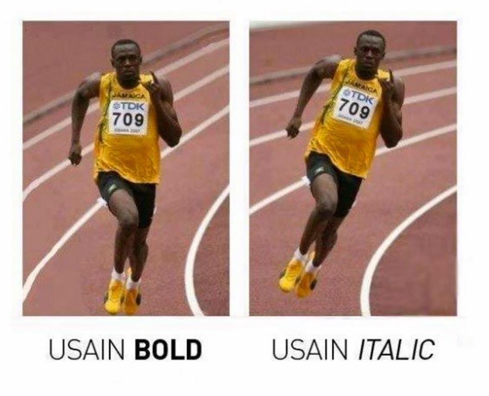 usain-bold-vs-italic